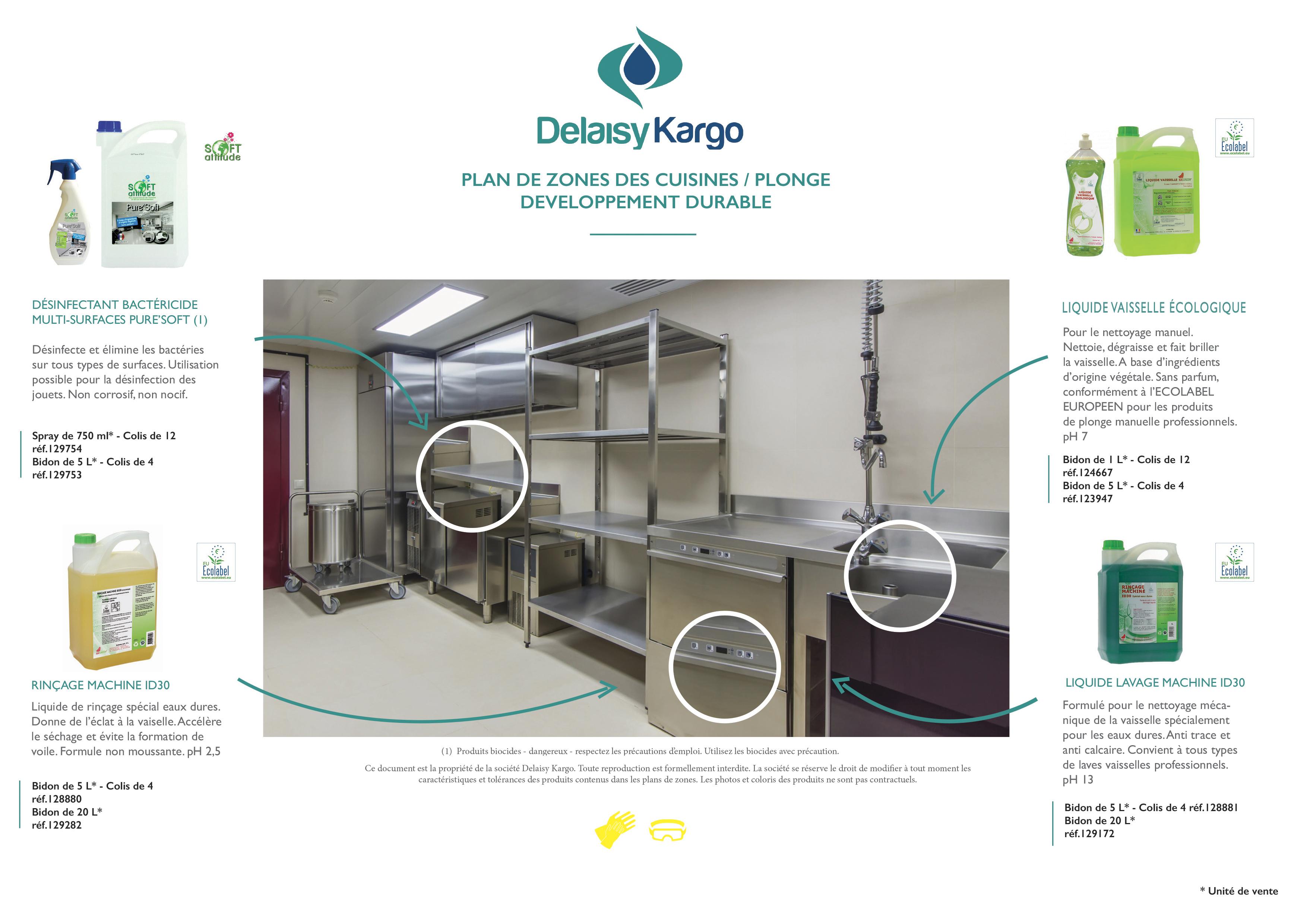 plan de zones des cuisines / plonge-developpement durable